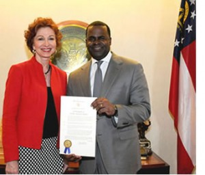 Peggy M. Parks and Mayor Kasim Reed